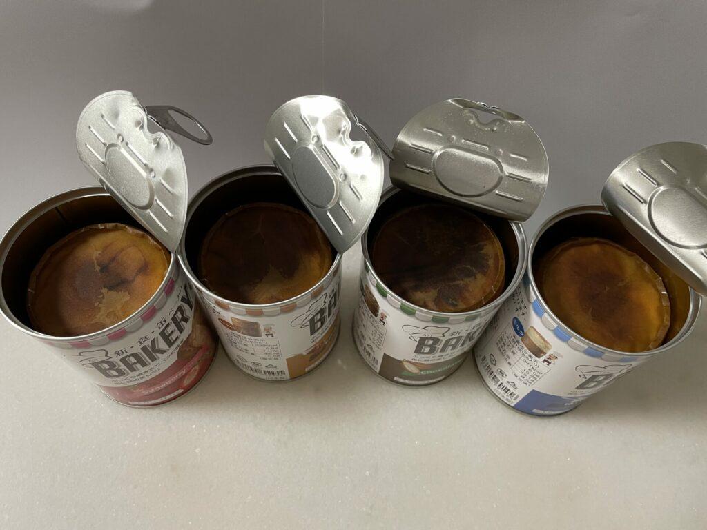 新食缶ベーカリー缶入りソフトパン 缶を開封